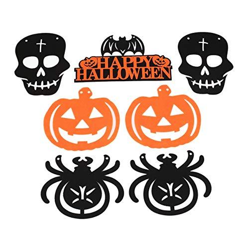 Jiobapiongxin 7pcs Happy Halloween Banner hängen Fahnen Kürbis Hexe Skull Party Ornamente