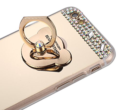 iPhone 6 Hülle,iPhone 6S Schutzhülle,JAWSEU Glitzer TPU Handyhülle Spiegel Hülle für iPhone 6 6S mit Bär Ring Fingerhalterung Ständer, Spiegel Mirror Effect Glitzer Glänzend Sparkle Strass Diamant Lux Bär Gold
