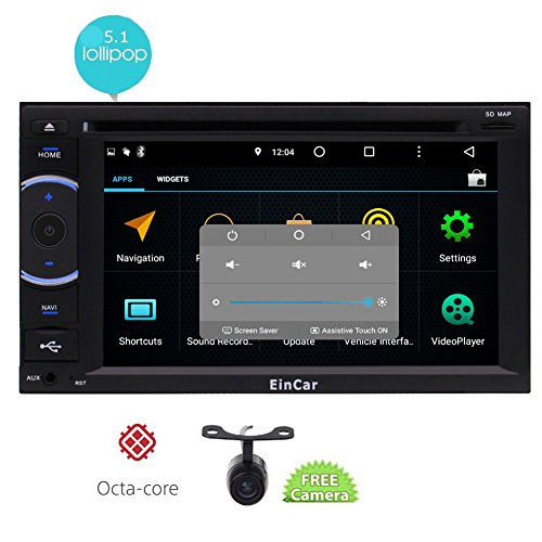 Auto Stereo-navigations-systeme (EinCar 6,2-Zoll-HD-Touchscreen Android 5.1 Auto-Navigation Stereo Doppel-DIN-Octa-Core Lollipop System Auto-DVD-Spieler AM / FM Radio GPS WiFi Bluetooth Mirrorlink OBD2 freie Backup-Kamera)