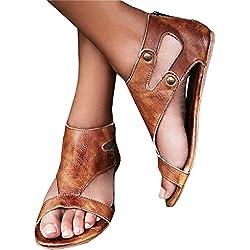 Minetom Mujeres Pescado Boca Zapatos Sandalias con Una Base Plana Zapatos Sandalias Mujer/Verano/De Tacón Bajo/Boca De Pescado/Elegante/De Moda Marrón EU 36