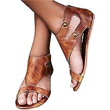 Minetom Femmes Sandales À Talon Plate Printemps Été Bohême Chaussures de Plage Shoes Mode Décontractée Cuir Rétro