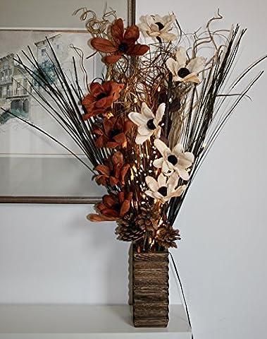 Bouquet de fleurs exotiques 1,3m avec 30LED Brindille lumières, Bois dense, marron, 1.5m