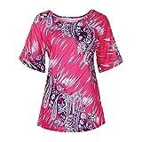Manadlian Damen T-Shirt Frauen O-Ausschnitt Spitze Drucken Kurzarm Lässige Tops Lose Bluse Hemden