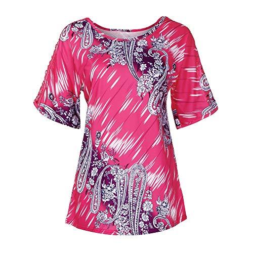 ckt, Tops Frauen Sommer Sexy Spitze Oberteile Rundhals Kurzarm Tunika Casual Locker Bluse Große Größen Shirts Freizeithemd Fun-T-Shirts (XL, Pink) ()