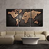 World map black background Wall Art Painting 3 Panels   Multiple Frames Split Painting on 5 mm White Sun board   Drawing Room   Tv wall   Office   Top Quality   Wall Decor   Home   Ready to hang   HD Print By Paper Plane Design (Large - 24 x 48 inch)