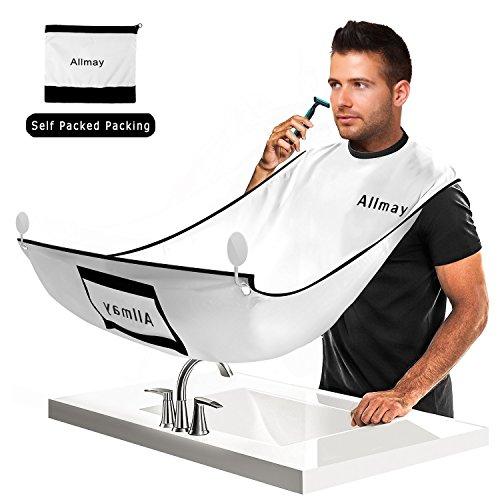 Bart Schürze, Allmay Rasieren Beard Apron, Shaving Fellpflege Bart Lätzchen bartpflege schürze mit 2 Saugnäpfe Haken Waschmaschinenfest Selbst Verpackte Verpackung für Bartpflege Herren Männerpflege
