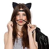 Frcolor 2pcs Glitzer Katze Ohren Stirnbänder Katzen Ohr Haar Reifen Spangen für Party und tägliche tragen schwarz und Silber -