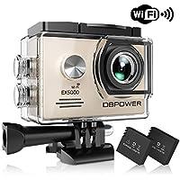 Caméra d'action DBPOWER EX5000, 1080P HD Wifi caméra sportive étanche, écran LCD 2 pouces, objectif grand-angle 170 degrés, étanche à 30 m de profondeur, caméscope DV avec batterie rechargeable et 16 accessoires