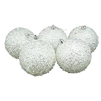 Christmas Concepts® Paquete de 5 – Extra Grande 100mm Árbol de Navidad Baubles – Blanco Iridescent Sparkle Decorado Chucherías
