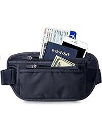 FREETOO Cinturón de Viaje Rinonera Interior para Dinero con Protección RFID Bolso Cartera Oculta de Viaje para Viaje/Correr/Vida cotidiana/Senderismo para Mujeres y Hombres Negro