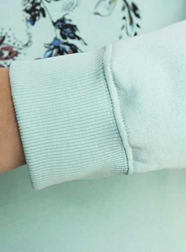 oodji Ultra Femme Sweat Coupe Droite avec Imprimé Turquoise (7329P)