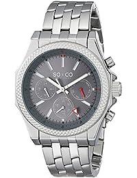 So &Co Soho Men'New York Herren Quarzuhr mit Grau Dial Analog-Anzeige und Silber-Edelstahl-Armband 5003.2
