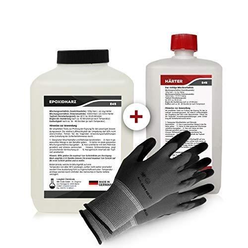 Epoxidharz mit Härter | 2,25kg GfK set | Profi Qualität glasklar & geruchsarm | Gießharz für Holz + Schutzhandschuhe