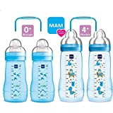 MAM Flaschen Babyflaschen Easy Active Set Boy 2 x Baby Bottle 270ml & 2 x 330ml // mit Sauger Gr. 1 & Gr.2 inkl. 2 x My Bottle Griffe Blau