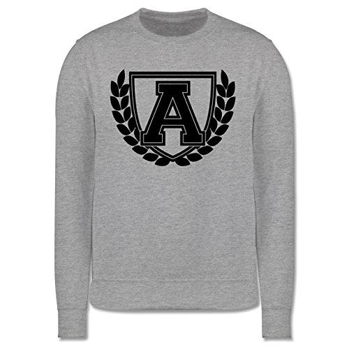 Anfangsbuchstaben - A Collegestyle - Herren Premium Pullover Grau Meliert