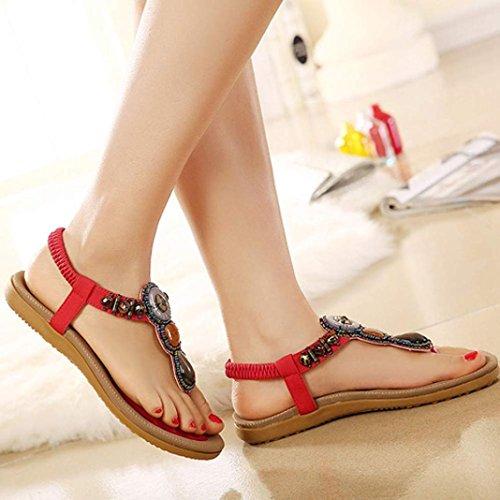 toe Doce espinha Clip Frisado Estilo Moda Planas Vermelhas Mulheres Bohemian sandálias Omiky® q1xYZtwFHS