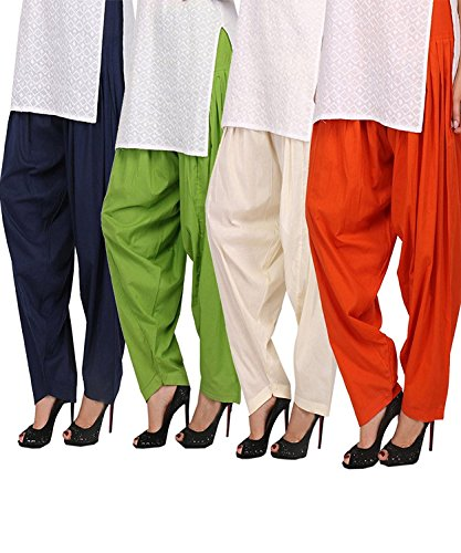 MRV Fashion's Ready Made Fully Stitched Plain Cotton Semi Patiala Salwar for...