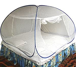Healthy Sleeping Foldable Polyester Double Bed Mosquito Net - Embroidery (White)