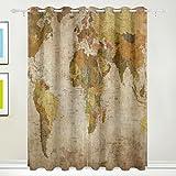 TIZORAX Vintage alte Weltkarte Vorhänge Verdunkeln zur Wärmedämmung Fenster Panel Drapes für Home Dekoration 139,7x 213,4cm Set von 2Panels