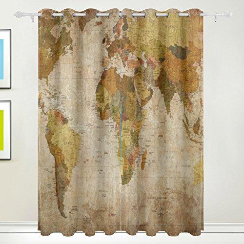 TIZORAX Vintage alte Weltkarte Vorhänge Verdunkeln zur Wärmedämmung Fenster Panel Drapes für Home Dekoration 139,7x 213,4cm Set von 2Panels (Tülle-oberseite)