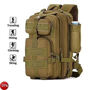 Zology multifunzionale 40l grande capacità borsa zaino escursionismo borsa per campeggio esterno tattico militare zaini per unisex con una tazza, Brown