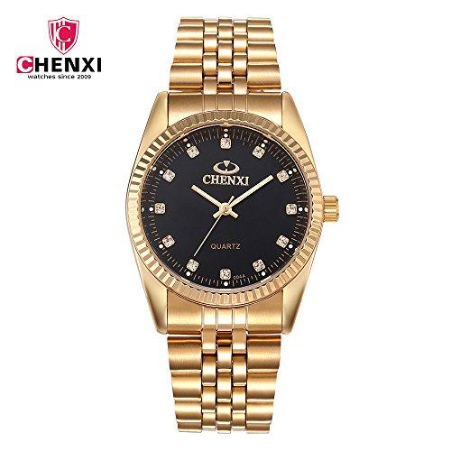 Schöne Uhren, Chenxi goldene Mode Herrenuhr Edelstahl Quarz-Armbanduhr ( Farbe : Schwarz , Großauswahl : Einheitsgröße )