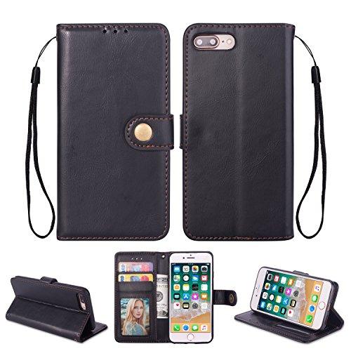 Ostop iPhone 8 Plus/iPhone 7 Plus Hülle,Leder Brieftasche Handyhülle,Schwarz Klassisch Öl Wachs PU Stand Abdeckung Kartenfach Stilvoll Klapphülle mit Retro Metall Verschluss Schutzhülle