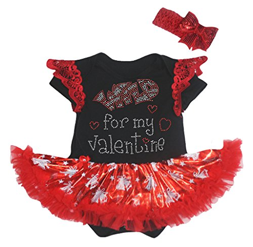 Petitebelle Wild for My Valentine Black Lace Black Bodysuit Bell Red Tutu Nb-18m (3-6 ()