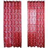 MagiDeal 100 * 200cm Panneau De Rideau Fenêtre Voilage Tulle Drapé Feuille - rouge