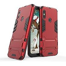 AOBOK Funda Xiaomi Mi A2 Lite, Rojo Tough Armadura Híbrida Funda Shock Absorción Proteccion,