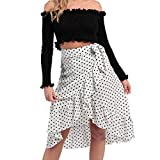 TIFIY Moda Verano Falda Larga Mujer Lunares Dobladillo Irregular con Volantes Faldas Mujer 2019 (Blanco,XL)