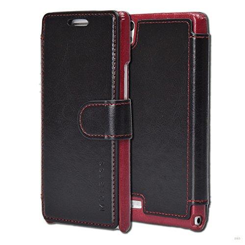 Mulbess Layered Dandy Ledertasche im Bookstyle und Kartenfach für Huawei P6 hülle Tasche Leder,Schwarz