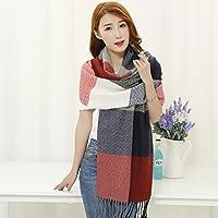 MEICHEN-lusso classico sciarpe per l'autunno/inverno colori caldi plaid frange cashmere scialle Jacquard,vino rosso + m