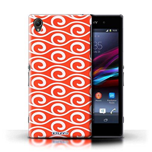 Kobalt® Imprimé Etui / Coque pour Sony Xperia Z1 / Rouge conception / Série Motif ondes chic Rouge