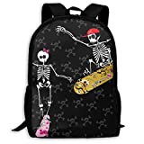 Casual Backpack Skeleton with Skateboard Jumping 3D Printing School Bags for Boys Girls Unisex Adult Shoulder Bag ily Bag Outdoor orts