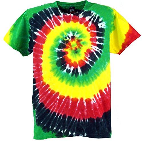 Guru-Shop Rasta Batik T Shirt, Herren Kurzarm Tie Dye Shirt, Spirale 4, Baumwolle, Size:M, Rundhals Ausschnitt Alternative Bekleidung (Herren Tie Klein Dye)