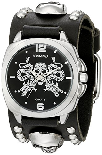 Nemesis Men's 910MKS-K Silver Dragon King of Skulls Series Black Skull Studded Leather Cuff Band Analog Display Japanese Quartz Black Watch