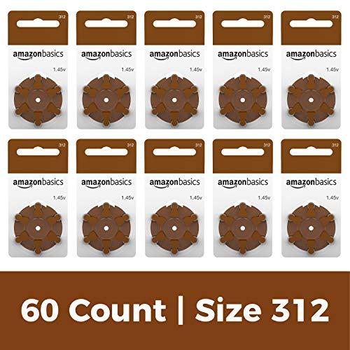 AmazonBasics Batterien für Hörgeräte, A312, Set mit 60 Stück