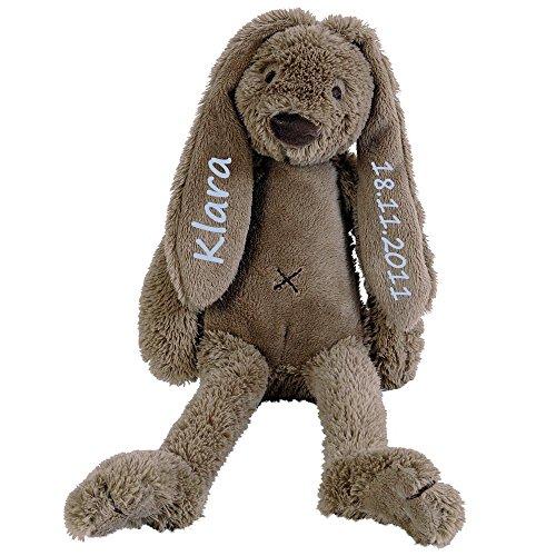 Stofftier Hase mit Namen und Geburtsdatum personalisiert Geschenk 30cm braun Aufdruck blau