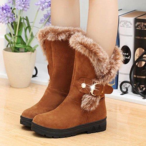 SOMESUN Women Ankle Snow Boots, Stivali Donna Slip-On Soft Snow Boots Punta Rotonda Stivali Piatti Invernali della Caviglia della Pelliccia Khaki