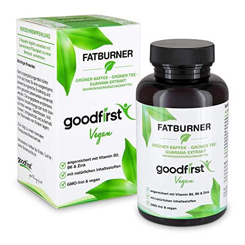 Fatburner - Grüner Kaffee, Grüner Tee, Guarana Extrakt - 90 vegane Diät Kapseln Hochdosiert - Zink, Vitamin B2 & B6 - Natürlicher Fettverbrenner zum Abnehmen und Stoffwechsel anregen - Vegan