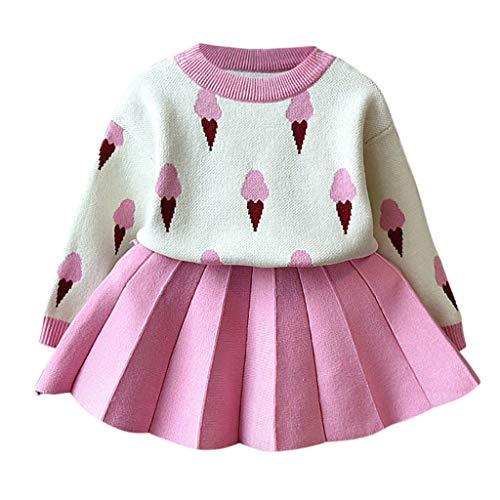 Livoral Kinder Winter AnzugKleinkind-Baby-Kind-Mädchen-Eiscreme-Warmer Strickjacke-Häkelarbeit-T-Shirt Rock(Rosa,120)