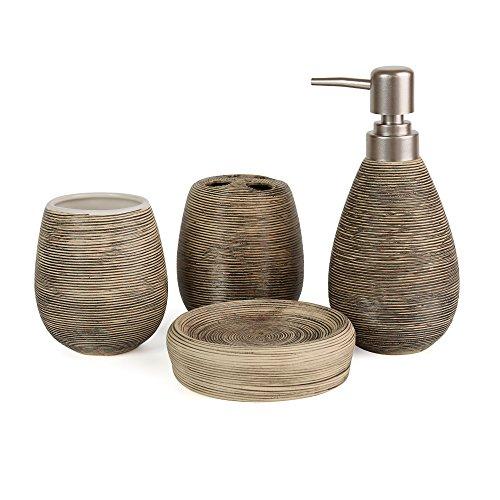 Moderne Bad-set (Asien Badezimmer Zubehör-Set, 4-teilig, aus Keramik, Seifenspender, Zahnputzbecher, Seifenschale, Becher, keramik, schwarz, middle)
