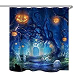 Aeykis Halloween Shower Curtain, Night Theme Forest Graveyard Ghost Pumpkin Jack-O'-Lantern Black Waterproof Fabric Shower Curtain 71 x 71
