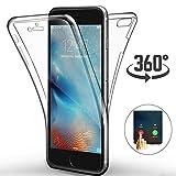 Ptny Coque iPhone 8/ iPhone 7 4.7', [Touch 3.0 Version] [360 Degrés de Protection Tout] [Avant et Arrière Intégral Etui] Silicone Gel TPU Full Body Protection Housse Case Cover [Transparent]