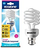Ecozone Biobulb, Energy-Saving Daylight Bulb, Bayonet Cap B22, 20W Equivalent to 60w, 1530 Lumens, Full Spectrum, Daylight White 6500k, Uses 68% Less Energy. Ideal for suffers of S.A.D