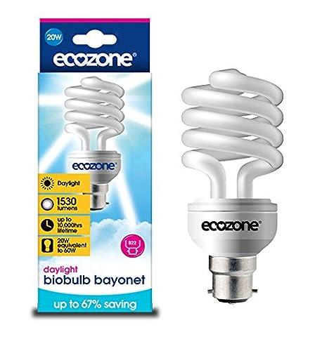 Ecozone Biobulb, Energy-Saving Daylight Bulb, Bayonet Cap B22, 20W Equivalent to 60w, 1530 Lumens, Full Spectrum, Daylight White 6500k, Uses 68% Less Energy. Ideal for suffers of