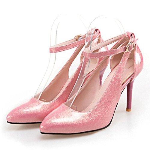 TAOFFEN Damen Süß Stiletto High Heel Party Pumps Mit Schnalle Pink