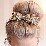 Yuhemii Enfants Filles pour Femme Pinces à Cheveux Nœud Paillettes Bling Barrette Headwears Accessoires Cheveux, doré Clair, 11.5cm x 4.0cm