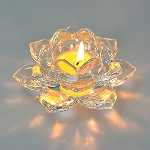 80Store neuestes schönes Kristallglas Lotos Schreibtisch Dekoration Halter für Kerze Meditations Tealights Kerzenhalter (1*Pack)